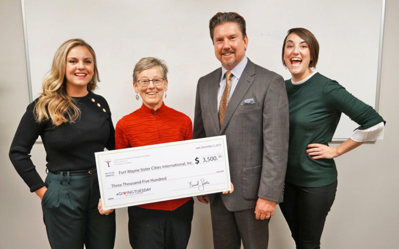 Giving Tuesday 2019 - Community Foundation of Greater Fort Wayne gives Fort Wayne Sister Cities surprise check!