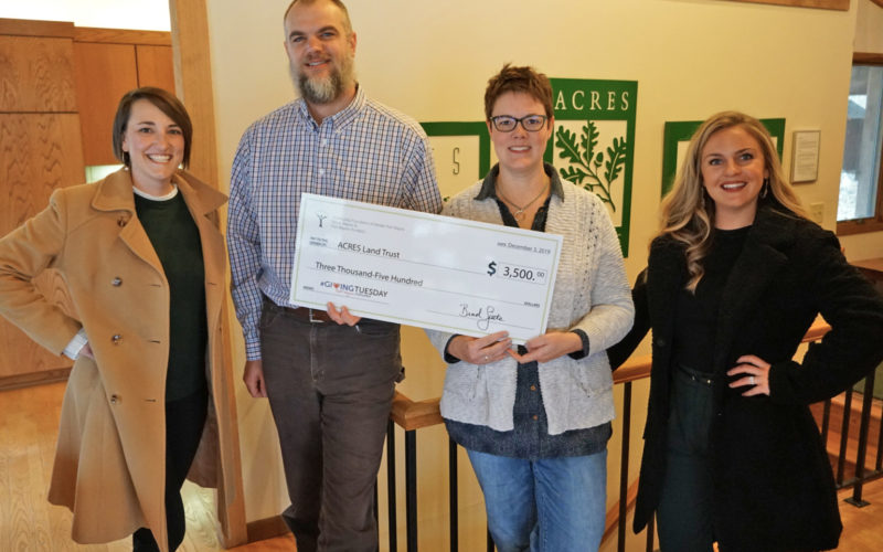 Giving Tuesday 2019 - Community Foundation of Greater Fort Wayne gives Acres Land Trust surprise check!