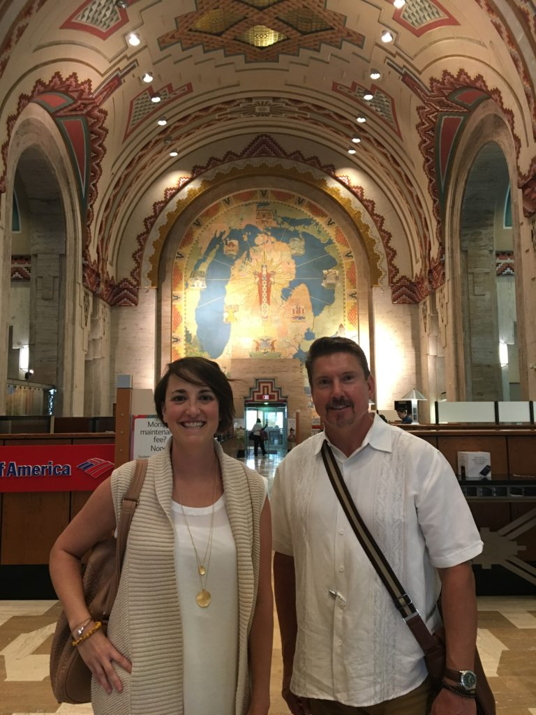 Alison and Brad inside the renovated Guardian Building in Downtown Detroit